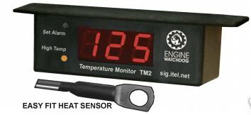 TM-2 Engine Watchdog DIGITAL TEMP GAUGE WITH ALARM - EASY TO INSTALL and LOW COST